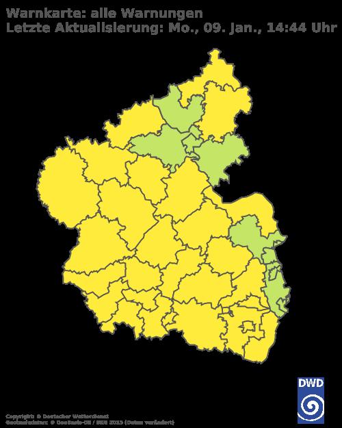 Aktuelle Wetterwarnungen für Regionalverband Saarbrücken
